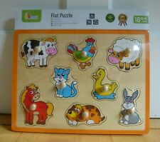 Childrens Wooden Board Peg Puzzle Farm Animals Jigsaw Early Learning Baby Toy