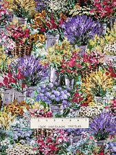 "Spring Fabric - Botanical Flower Market Garden Floral - Timeless Treasures 31"""