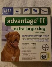 Bayer Advantage ll Extra lg Dog over 55lbs epa approved, 4pk Brand New