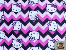 "Polar Fleece Fabric Print Hello Kitty Chevron Pink 60"" W Sold By the Yard N-579"