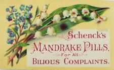 1870's-80's Schenck's Mandrake Pills Quack Medicine Lily-Of-The-Valley P66