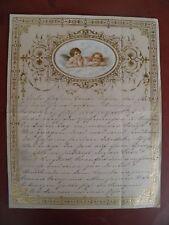 Um 1900 Großer Taufbrief? Patentbrief? mit Oblate    22 cm x 28