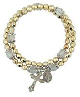 Gold Tone Cap Bead Rosary Wrap Bracelet Crucifix and Miraculous Medal, 8 Inch