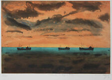 Listed French Artist J.J.J. RIGAL, Original Signed Etching, Seascape