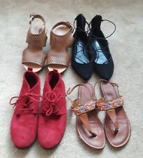 Lot of 4 Pairs of Shoes: Size 6.5 to 7.5: Sandals/Booties/Tie Up-Excellent Cond
