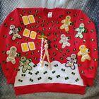 Hand Craft HO HO HO Light Up Red Ugly Christmas Sweater Striper Funny Men's Sz L
