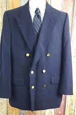 Vintage Burberry Navy Double Breasted Blazer Sport Coat Gold Button 40 Regular