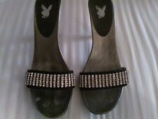 AUTHENTIC PLAYBOY  SHOES SILVER WITH RHINESTONE STRIP TOP 9