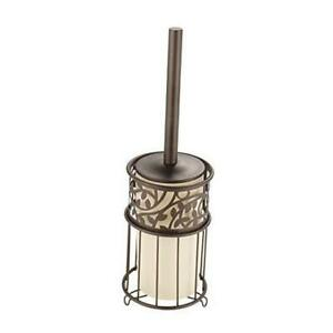 Vine Metal Toilet Bowl Brush and Holder, Slim Set for Bathroom Cleaning and