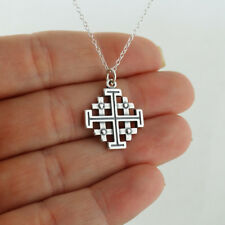 Jerusalem Cross Necklace - 925 Sterling Silver - Five-fold Pendant Symbol Potent
