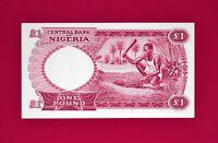 SCARCE NIGERIA UNC BANKNOTE: 1 ONE POUND 1967 (Pick-8) - PRINTER: TDLR (ENGLAND)
