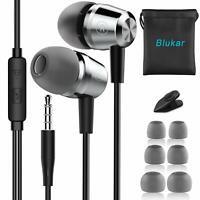 Blukar Auricolari Ear Cuffie Auricolari Stereo in Metallo con Microfono - Alt...