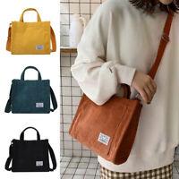 Women Eco Bag Corduroy Shoulder Bag Crossbody Casual Tote Messenger Zipper