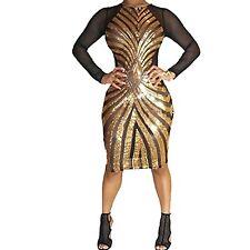 Sexy Gold Plus Size Bodycon Dress Women Sequin Geometric Pattern Dress 3XL, Gold