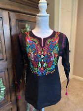 Pavo Real Peacock Mexican Blouse Top Shirt Embroidered Chiapas Off White Size S