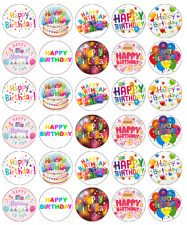 30 X Happy Birthday Cupcake Toppers Edible Wafer Paper Fairy Cake Topper