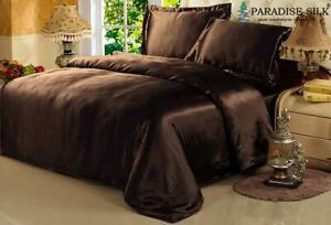 Pure  22MM Silk Seamless  Duvet Cover Pillow Shams Pillowcases 3Pcs Set