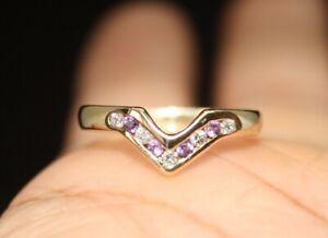 100% 9k Solid Yellow Gold Diamonds Amethyst V Wishbone Band Ring Sz 7.25 or O