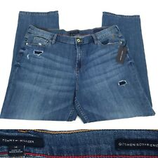 TOMMY HILFIGER Womens Goshen Boyfriend Laced Holes Jeans Dark Denim Cotton 14x28