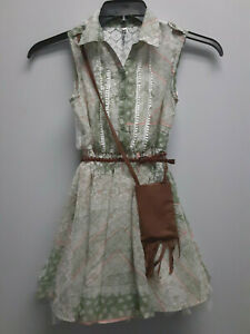 Beautees Olive Green Crinoline Dress with Matching Fringe Purse and Braided Belt