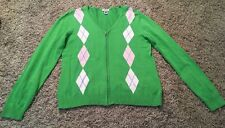 Izod Women's Green/White Cotton Full Zip Argyle Sweater, Size M