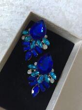 Turquesa Real Cristal Azul Oro Pendientes De Presión Accessorios
