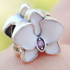 S925 Sterling Silver White Orchid Pink CZ Enamel Charm Bead Fit Bracelet Chain