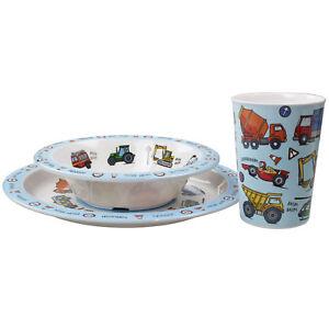 Set of 3 Vehicles Childrens Dinner Breakfast Set Melamine Plate Bowl Cup