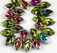 25 PCS Czech Leaf Olive Vitrail Pressed Loose Glass Beads Jewelry Craft 7x12mm