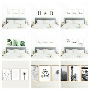 Mate Finish Prints Bedroom Frameless Wall Art Home Decor Sets of 3 A3 Size