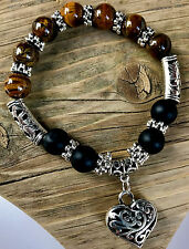 UK Tiger Eye Onyx Gemstone Bead Crystal Heart Charm Bracelet for Ladies Women