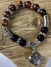 UK Tigers Eye Natural Stone Crystal Bead Bangle Charm Heart Bracelet Surfer Wrap