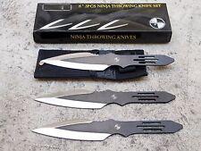 "3 Piece 8"" Throwing Knife Ninja Tactical Combat Set Carrying Case Black Silver"