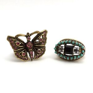 Heidi Daus Jet Crystal Turquoise and Pink Butterfly Rings sz7