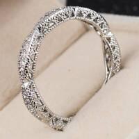 Elegant Women Round Cut White Sapphire 925 Silver Wedding Jewelry Ring Size 6-10