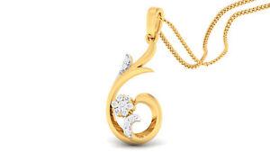 Pave 0,26 Cts Runde Brilliant Cut Natürliche Diamanten Anhänger In 585 14K Gold