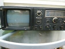 "Vintage Plustron TVRC7 7"" Portable Black And White CRT TV/Radio Cassette Working"