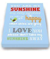 Adorable You Are My Sunshine Bedtime Story Rhyme Lovebird Nursery Wall Art Decor