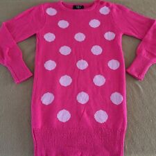 Girl's It's Our Time sweater tunic size Medium bright pink acrylic polka dots