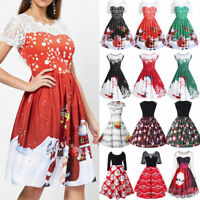 Women Merry Christmas Dress Printed Lace Splicing Party Vintage Santa Dress Hot