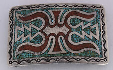 Big Navajo sterling silver & Coral & Turquoise chip inlay buckle by Juan Singer