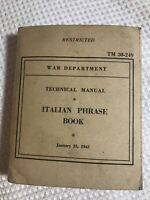 "Vintage 1943 Army Training Manual ""ITALIAN PHRASE BOOK"" TM30-249"