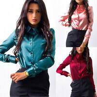 Womens Button Long Sleeve Casual Blouse Lady Business OL Work Formal T Shirt Top