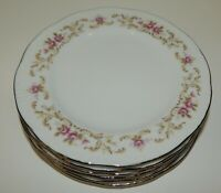 "Set of 6 Vintage Style House Fine China Rose Baroque 6.5"" Bread & Butter Plates"