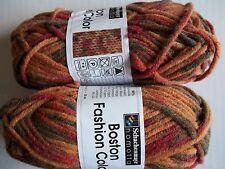 Schachenmayr Nomotta Boston Color wool blend yarn, browns, lot of 2 (60 yds ea)
