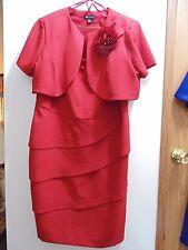 S.L. Fashions Women's Red size 14W sleeveless Dress/short sleeved Bolero 95 Poly