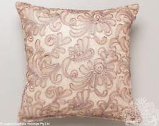 """New LOGAN & MASON """"CORNELLI SHELL""""  Lace Applique Square Filled Cushion"""