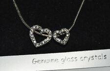"NEW Silver plated double heart pendant necklace 12.5"" valentines love"