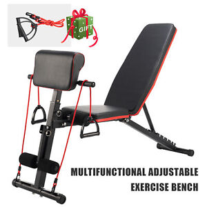 Adjustable Weight Bench Home Gym Workout Exercise Equipment Black 6-in-1