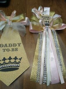 Baby shower Girl Princess Corsage and Tie  for the daddy to be